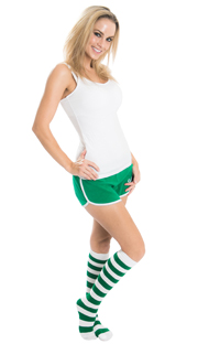 woman wearing green workout shorts and striped knee highs