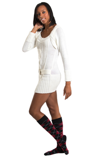 sweater dress with maroon argyle high socks