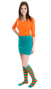 teal skirt, orange top and striped knee hi socks