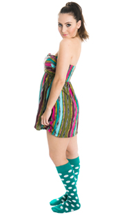 dress with teal polka dot knee hi socks