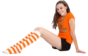 white orange striped socks