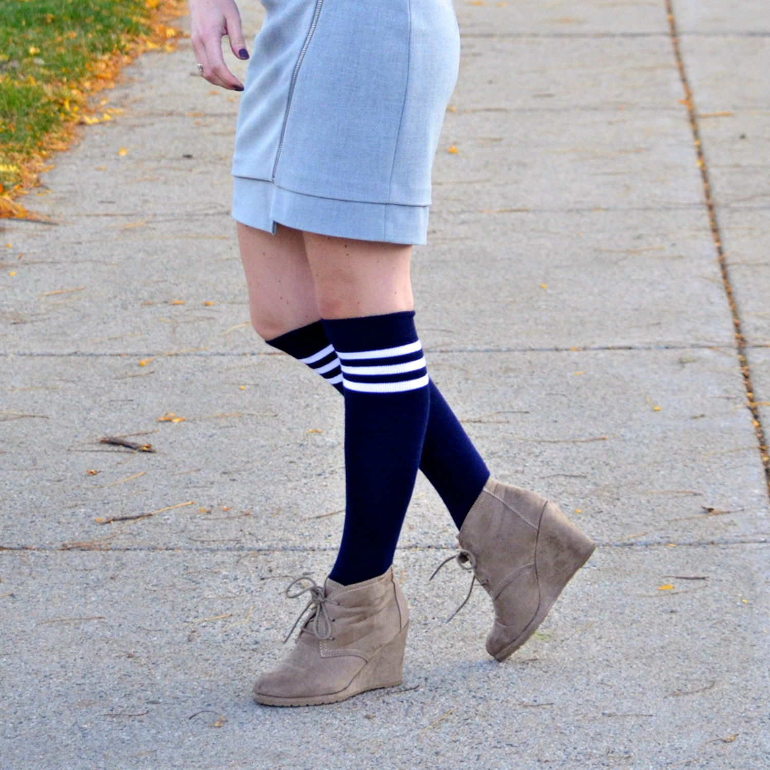 wedge shoes with striped tube socks