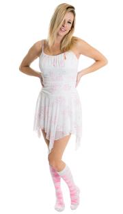 girl wearing cute white dress and pink argyle knee hi socks
