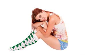 Green argyle knee high socks