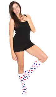 white polka dots color socks