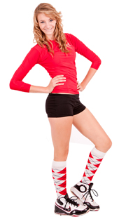 Red argyle knee high socks.
