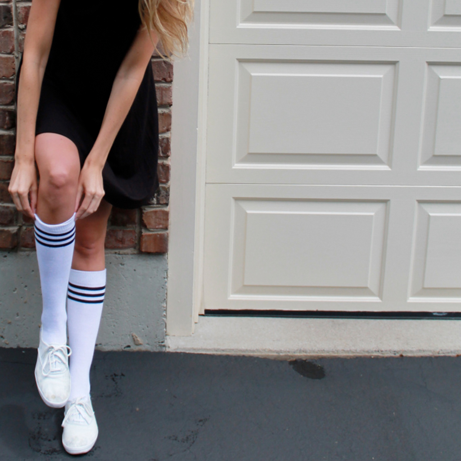 white flats with striped socks