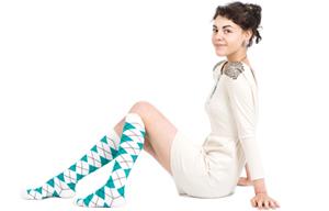 White - Teal Argyle Socks