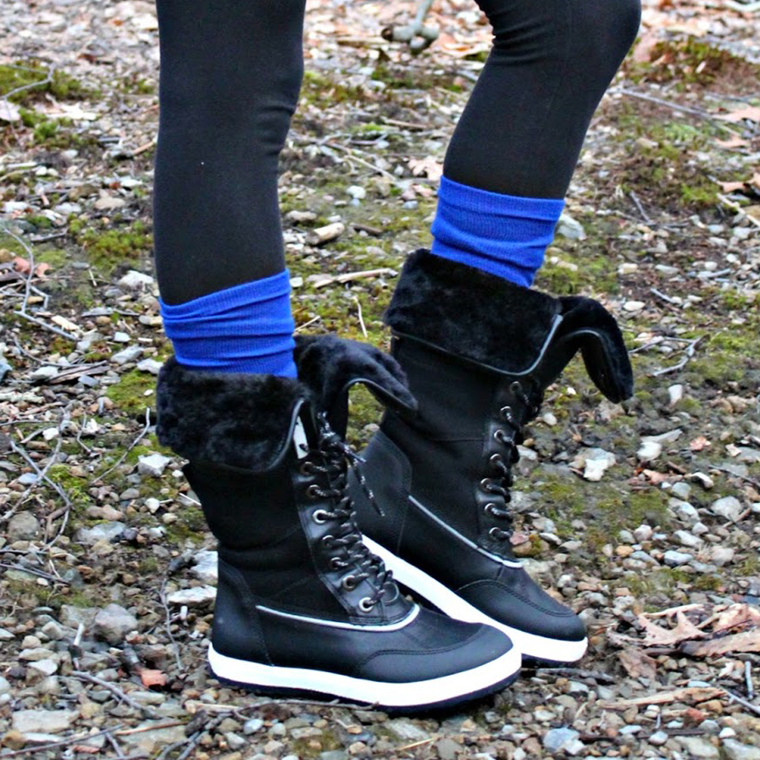 winter boots with scrunched down socks