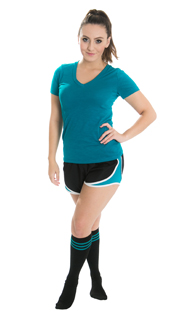 girl wearing black workout shorts and teal striped tube socks