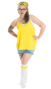 girl with tattoos, yellow top and striped retro tube socks