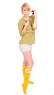 Yellow with white stripes