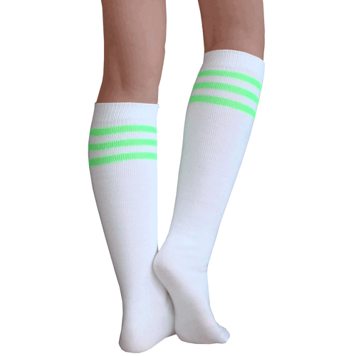 White/Neon Green Tube Socks