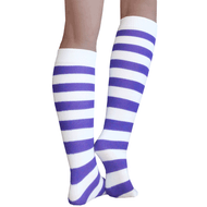 striped purple knee highs