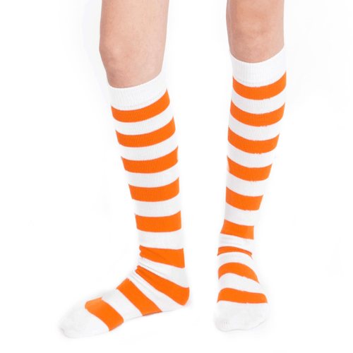 white orange socks