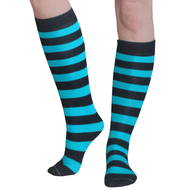 black and teal striped knee socks