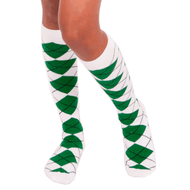white green argyle knee socks