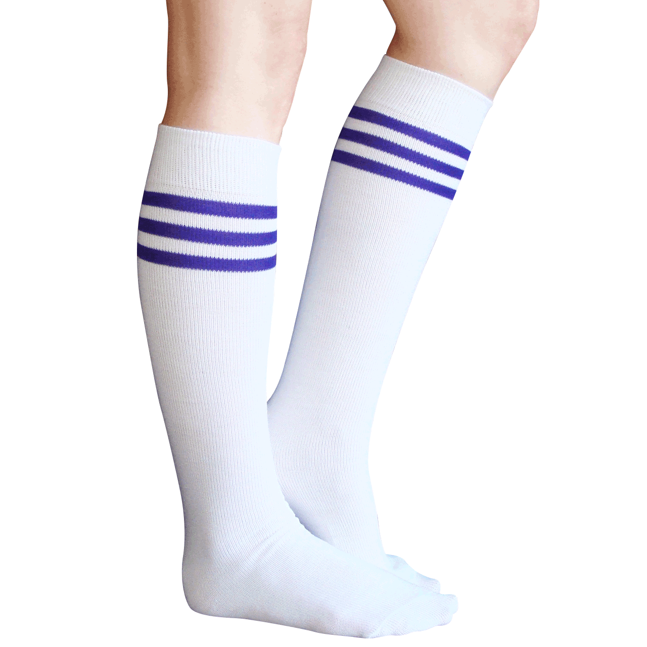 bf0f49cfaef white purple tube knee socks. See 4 more pictures