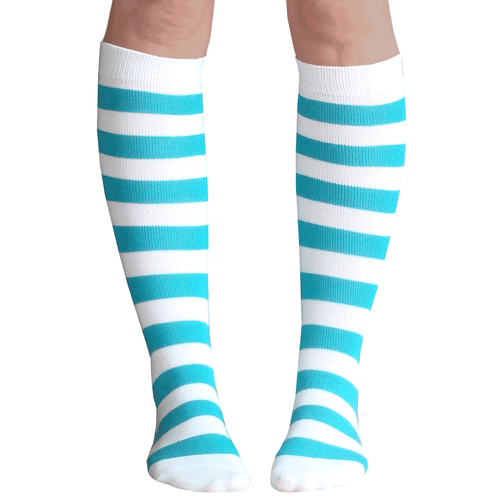 white teal striped knee high socks