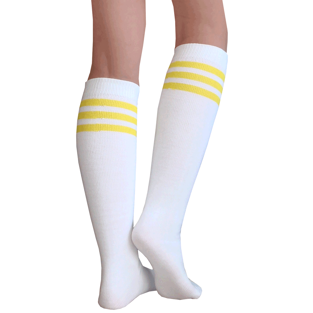 187eb3194c1 White Tube Knee Socks with Yellow Stripes