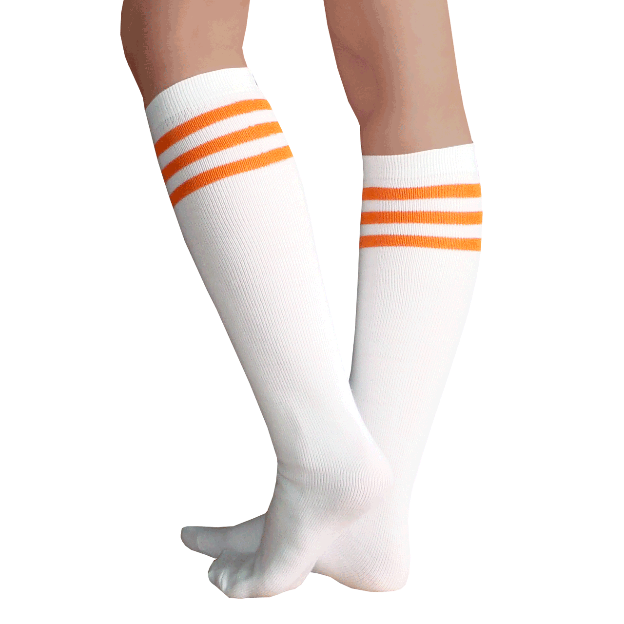 bca871311cf White Tube socks with Orange Stripes
