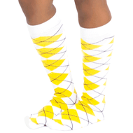 white yellow argyle knee high socks