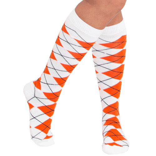 orange argyle socks