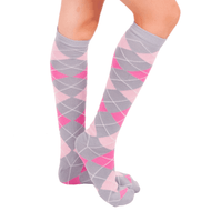 pink argyle knee socks