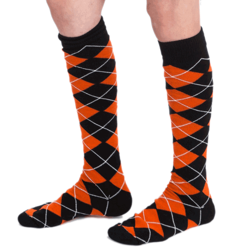 black orange argyle knee socks