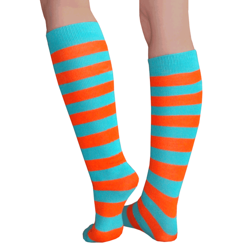 teal orange striped tube socks