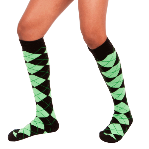 black and neon green argyle socks