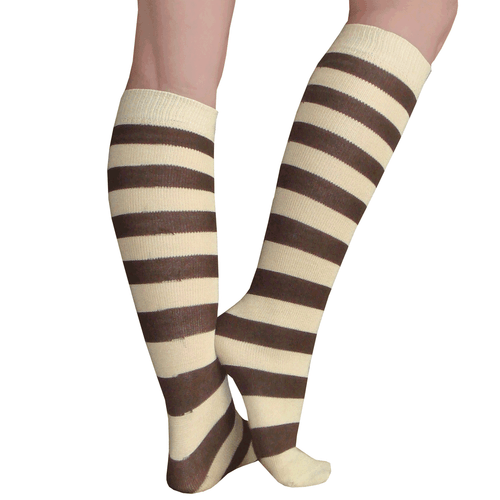 brown and tan striped socks