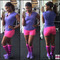 working out in pink/purple socks
