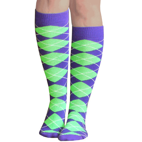 purple neon green argyle socks