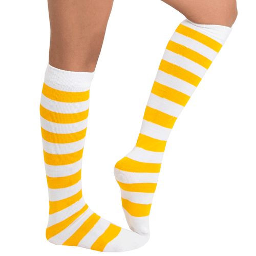 gold striped socks