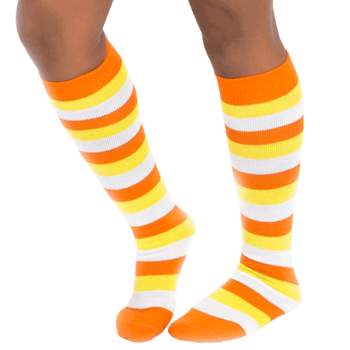 candy corn socks - orange yellow and white striped socks