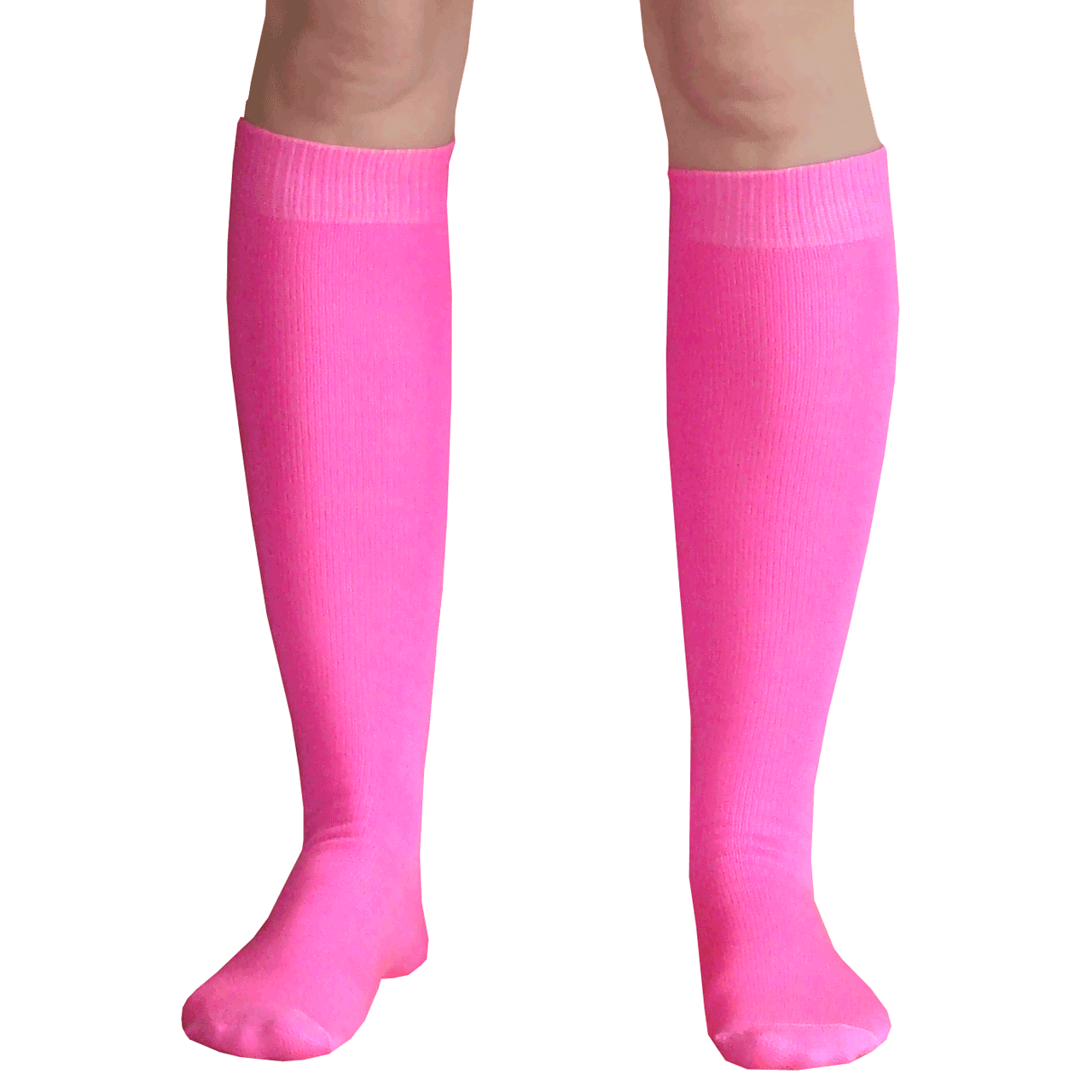 bc4cd77e59e30 Thin Solid Neon Pink Knee Hi Socks