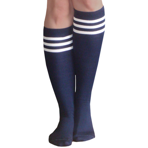 navy tube socks with white