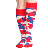 red, white, blue camo knee socks