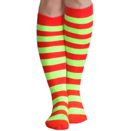 red/neon green high socks