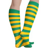 green and gold striped elf socks