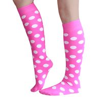 Neon pink polka dot socks