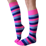 pink, blue and royal striped knee socks