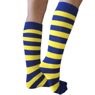 royal blue and yellow striped socks