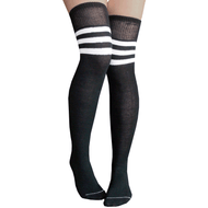black striped thigh highs