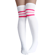 striped pink thigh highs