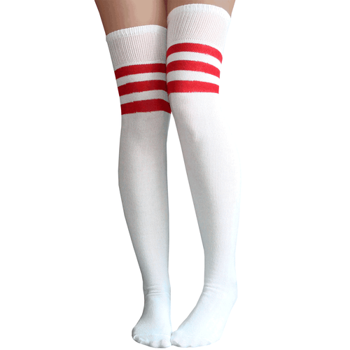 white/red striped thigh highs
