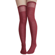 burgundy over the knee socks