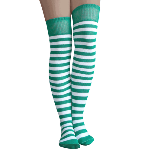 long green and white striped socks