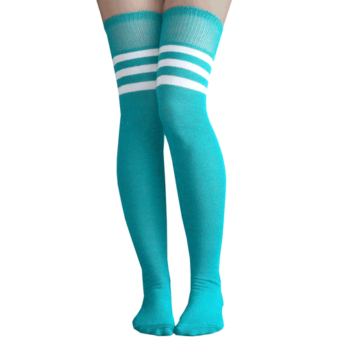 teal athletic over the knee socks